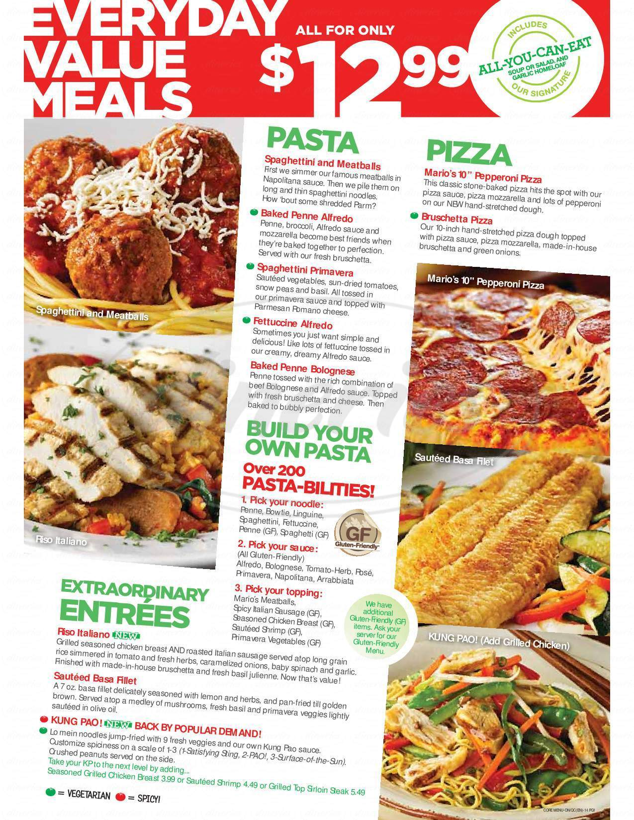 menu for East Side Mario's