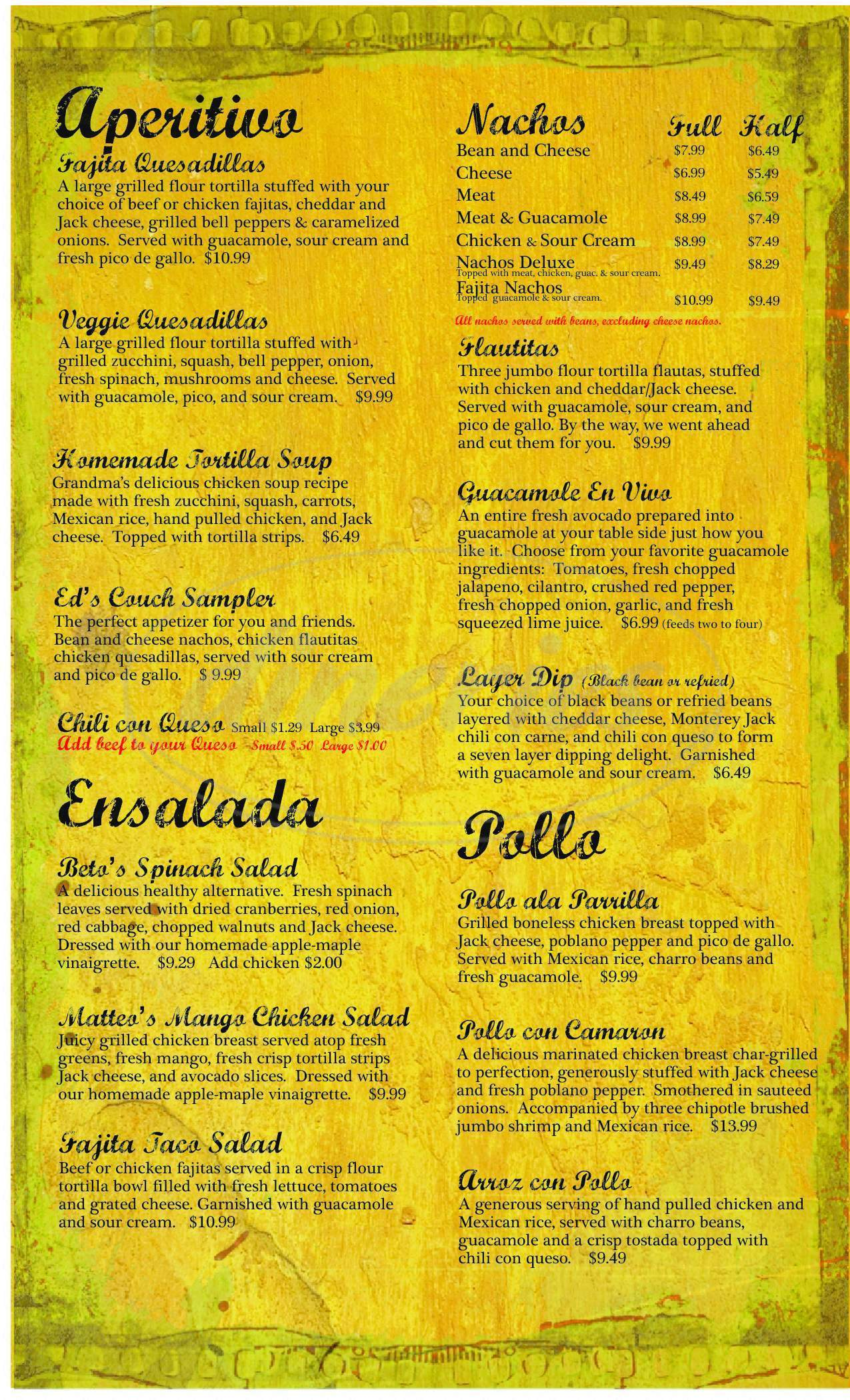menu for Beto's Mexican Restaurant