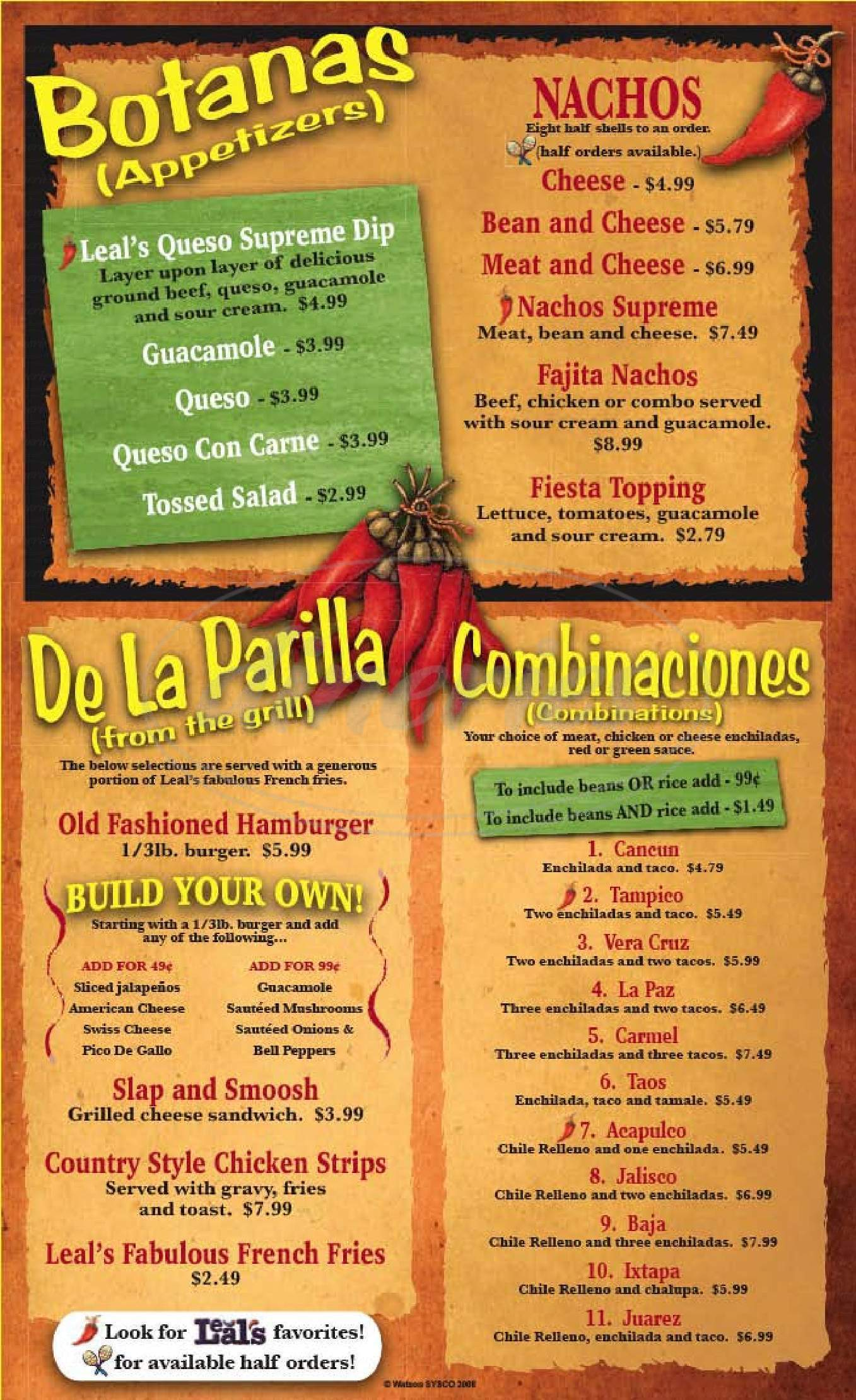 menu for Leal's Mexican Restaurant