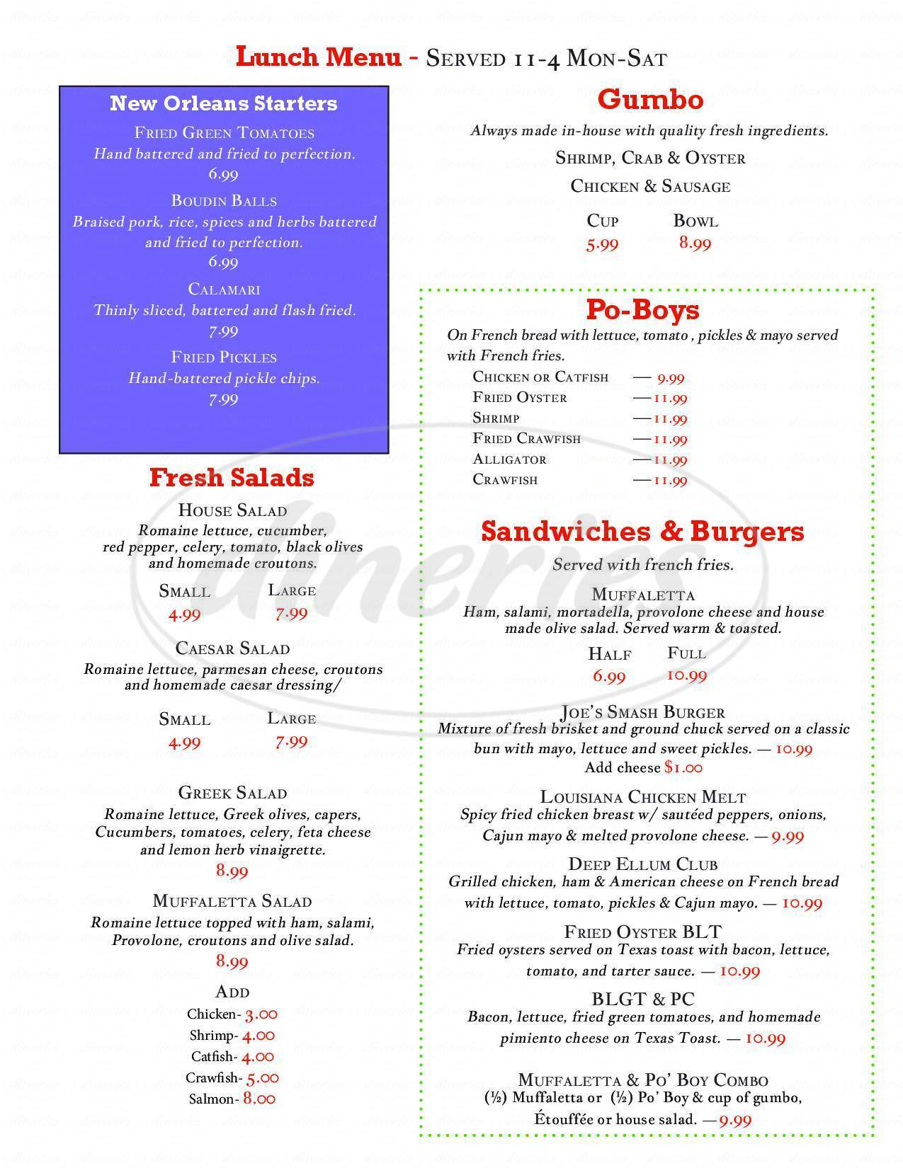 menu for Alligator Cafe