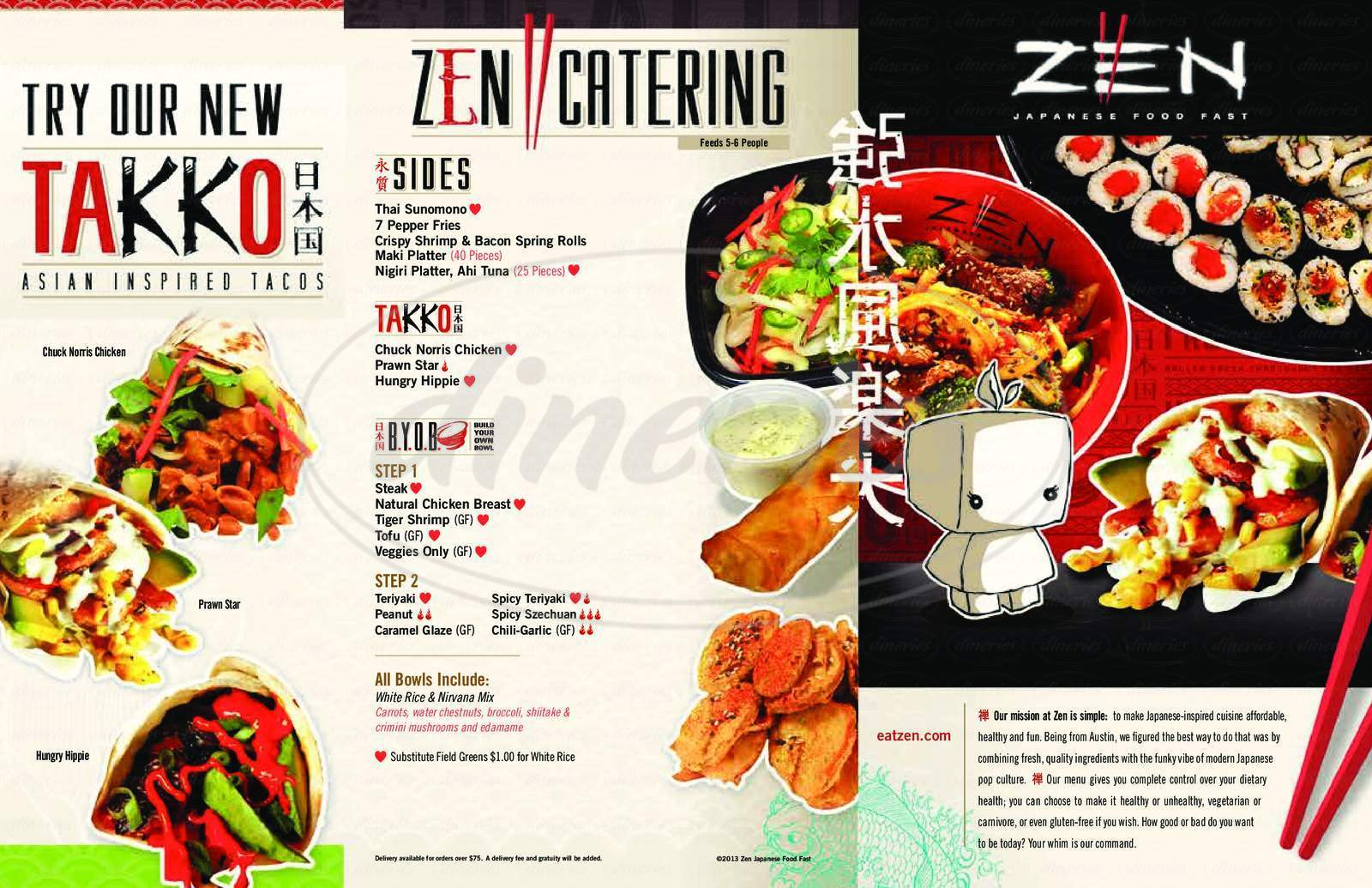 menu for Zen Japanese Food Fast