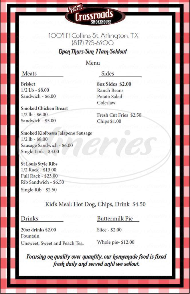 menu for Eddie Deen Crossroads Smokehouse