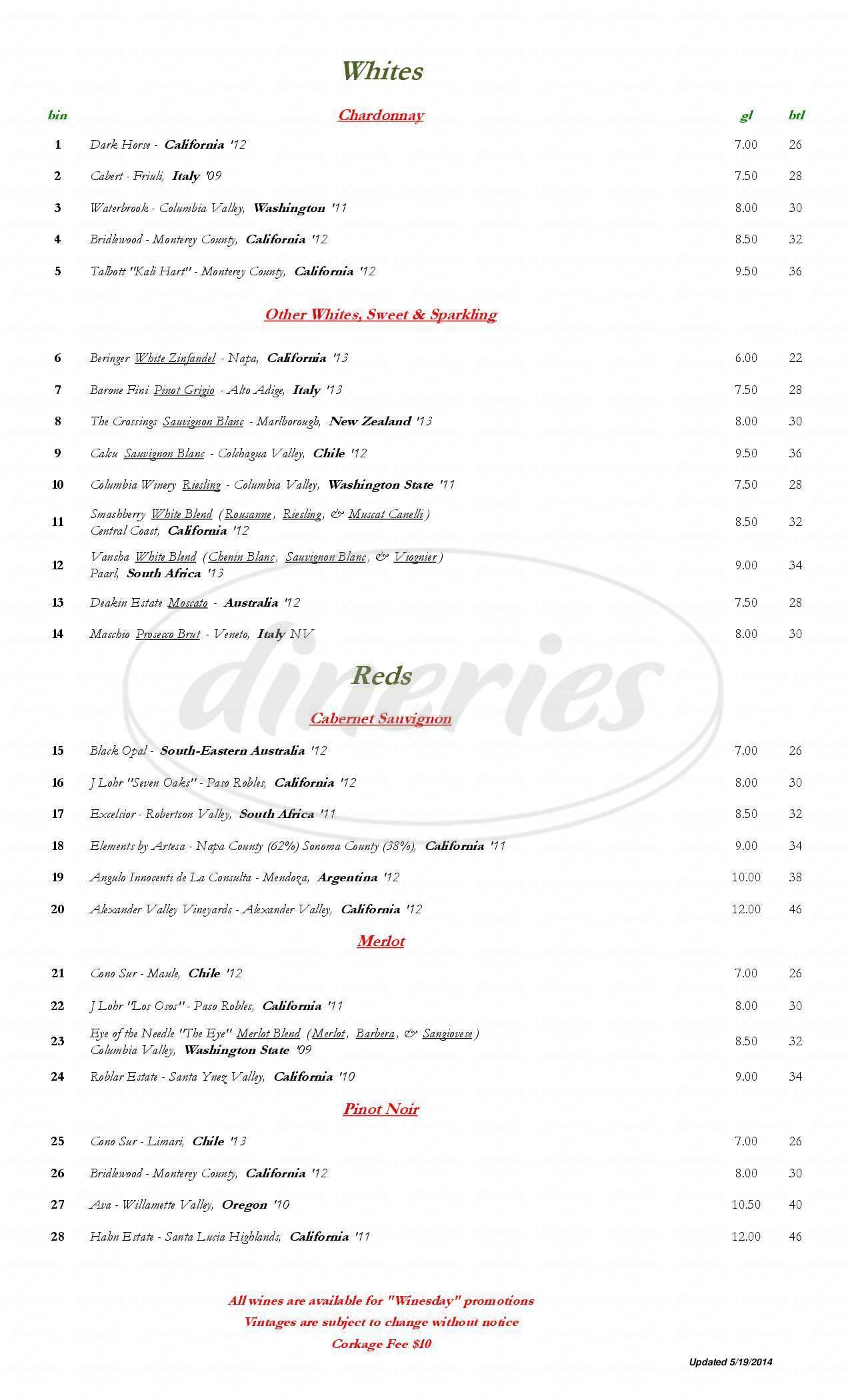 menu for Eden Cafe
