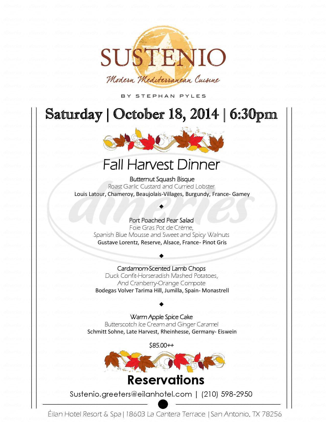 menu for Sustenio