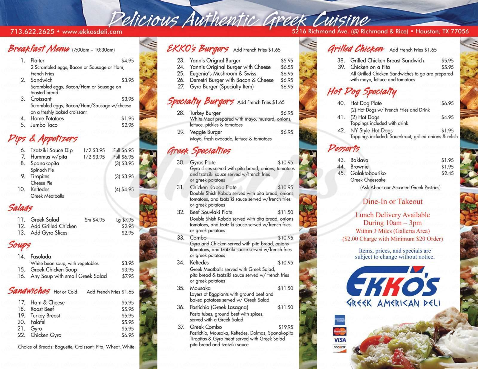 menu for Ekko's Greek American Deli