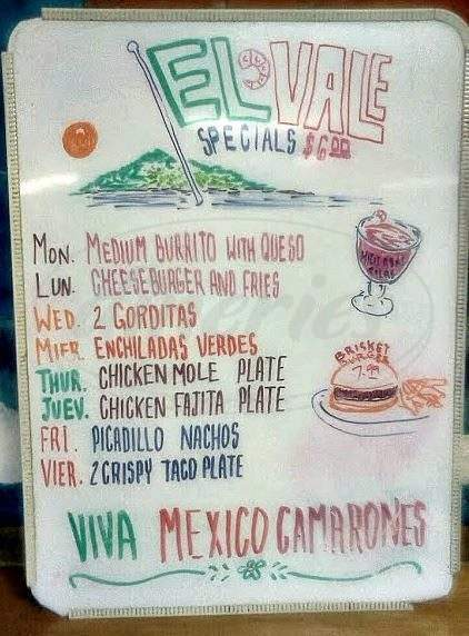 menu for El Vale