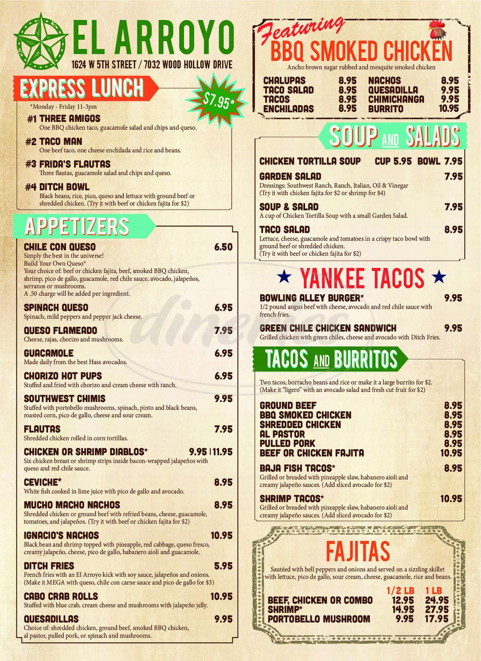 menu for El Arroyo