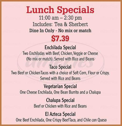 menu for El Azteca Restaurant