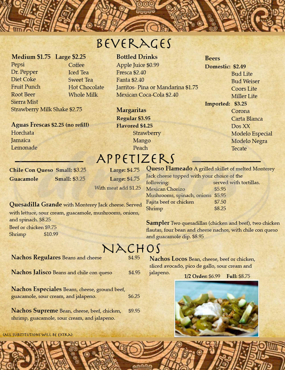 menu for El Centinela Mexican Restaurant