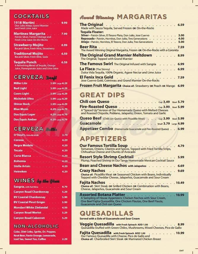 menu for El Fenix Mexican Restaurants
