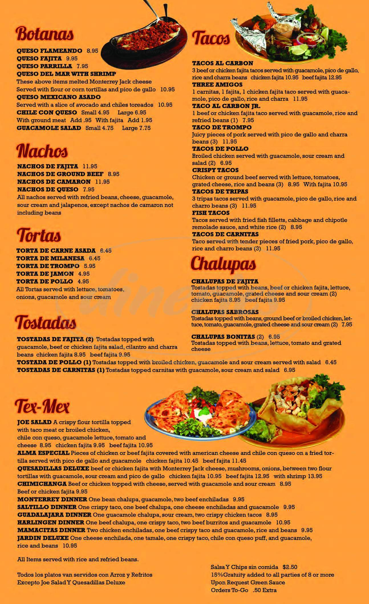 menu for El Jardin Restaurant