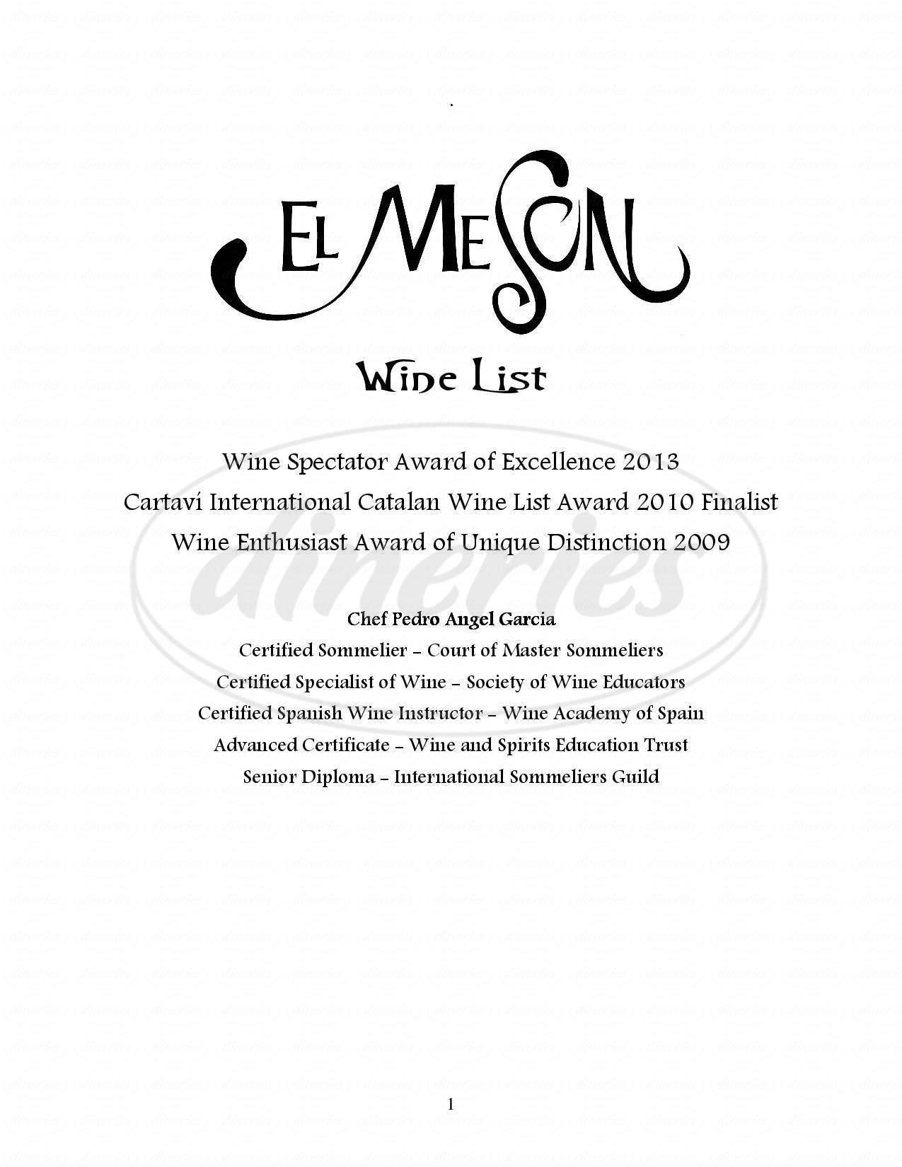 menu for El Meson Restaurant