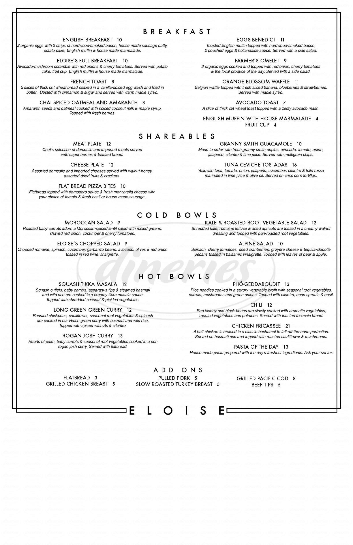 menu for Eloise