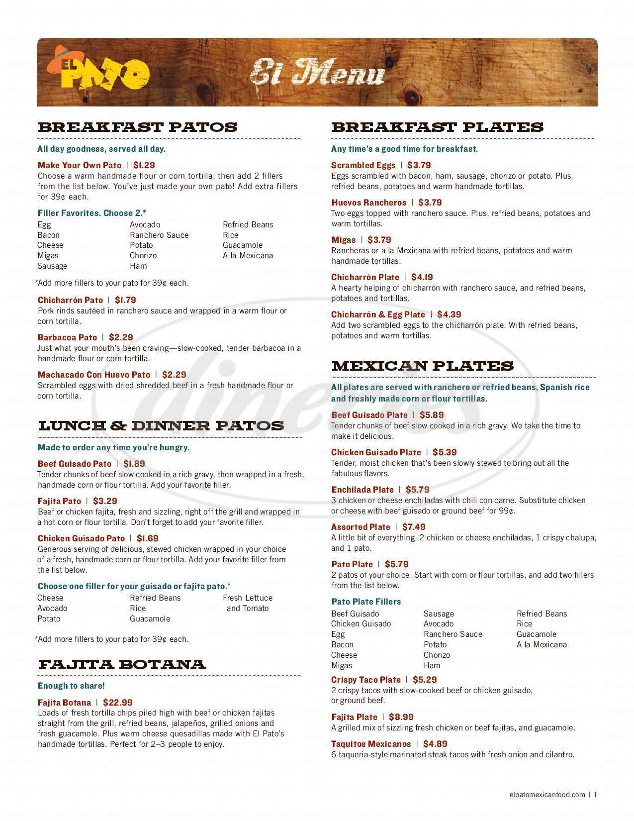 menu for EL PATO MEXICAN FOOD