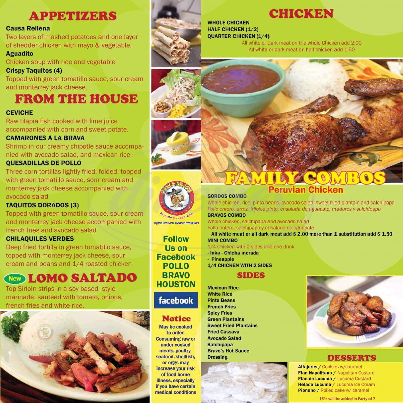 menu for Pollo Bravo