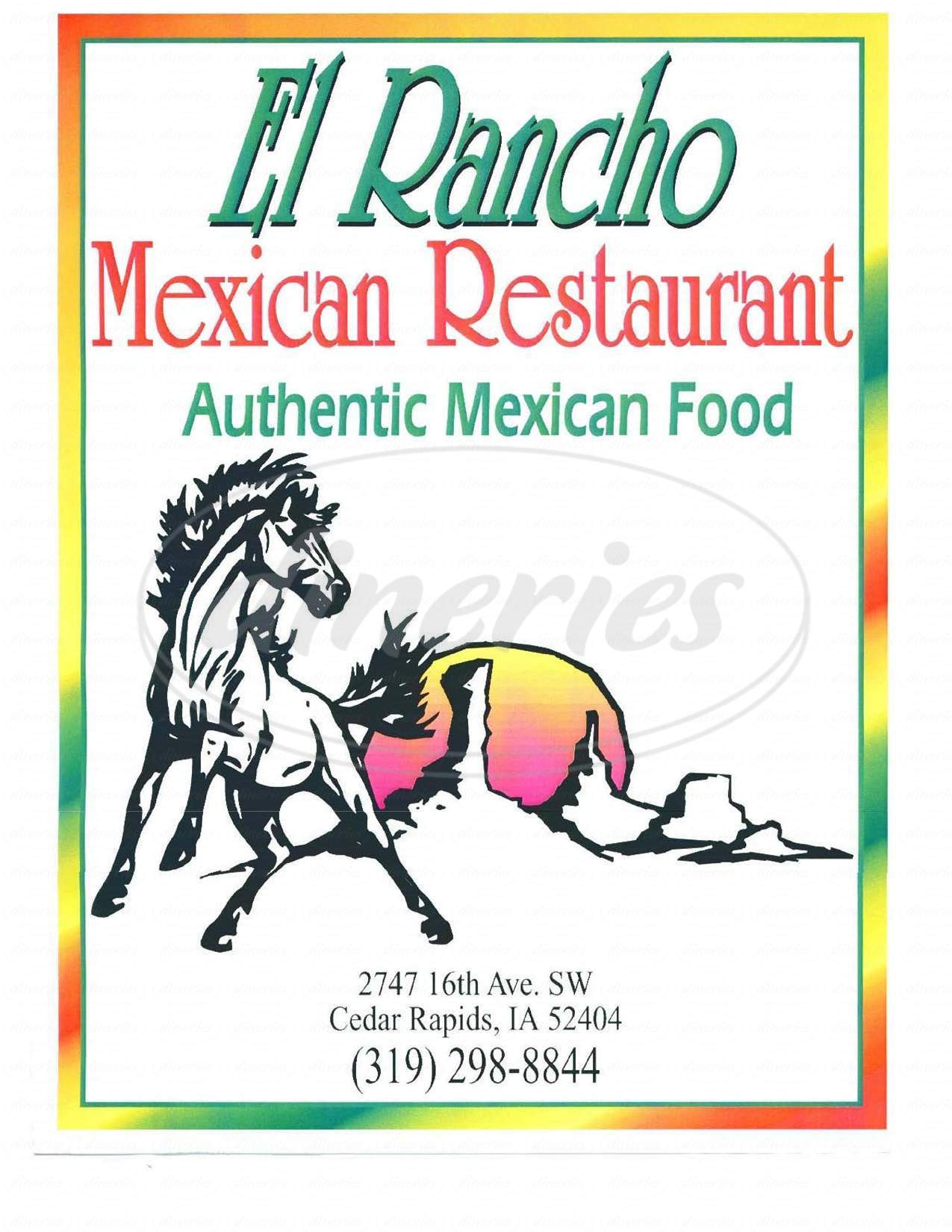 menu for El Rancho Mexican Restaurant