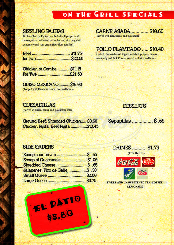 menu for El Refugio