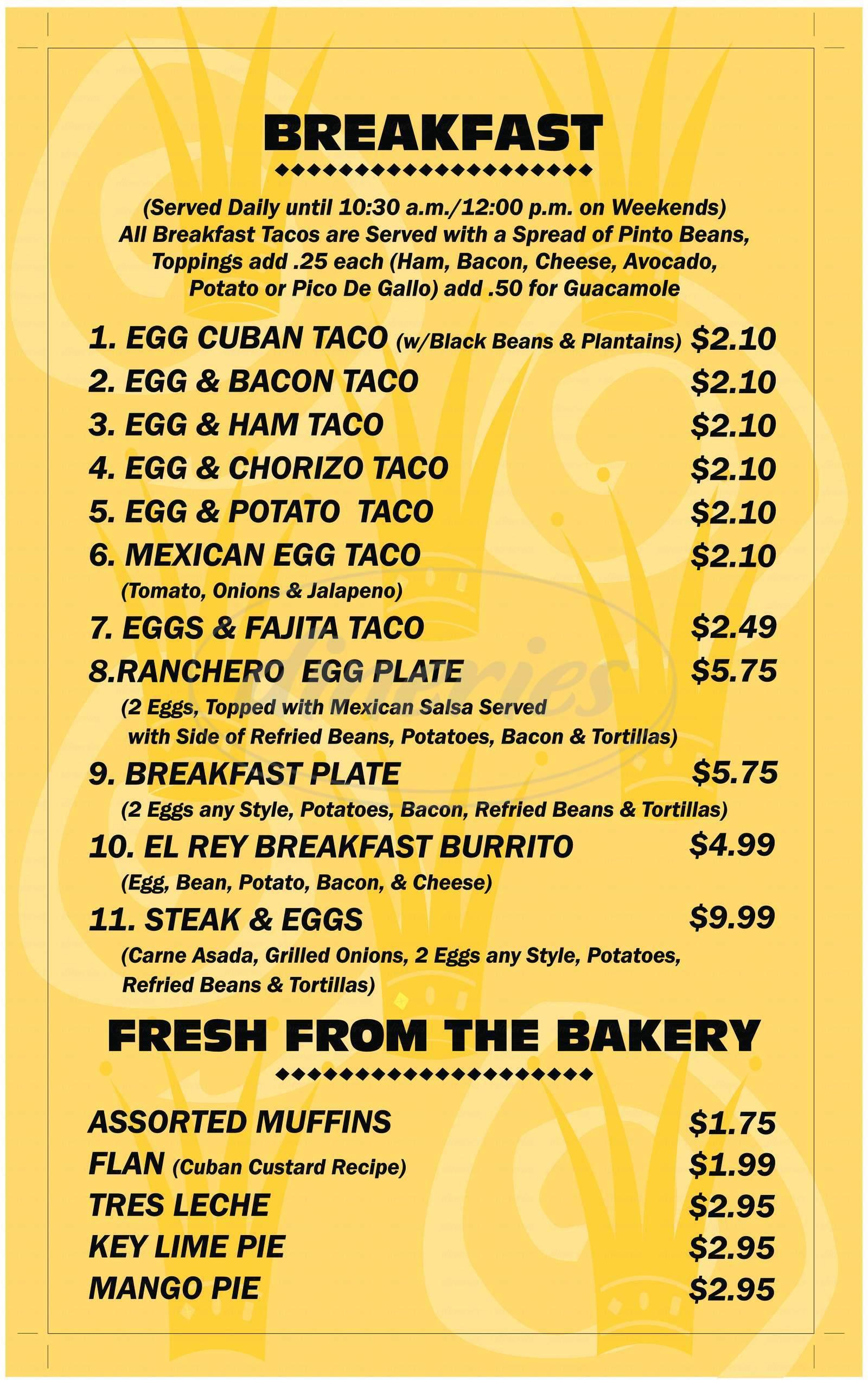 menu for El Rey Taqueria