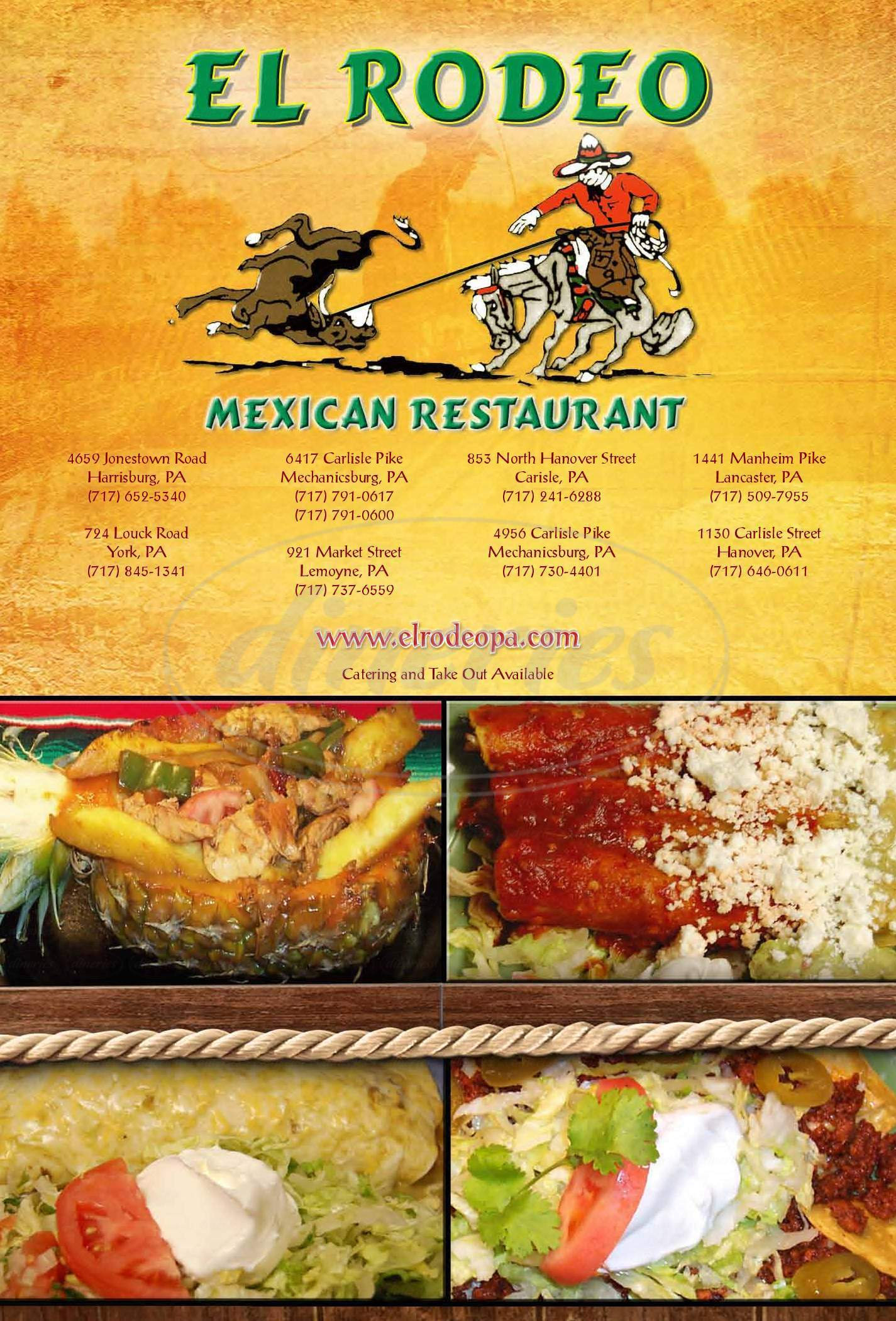 menu for El Rodeo