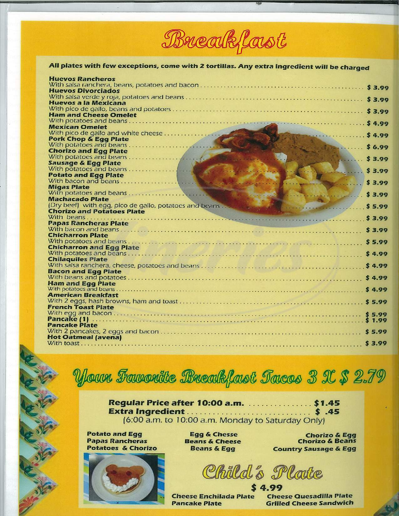 menu for San Luis Mexican Restaurant