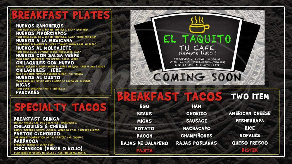 menu for El Taquito