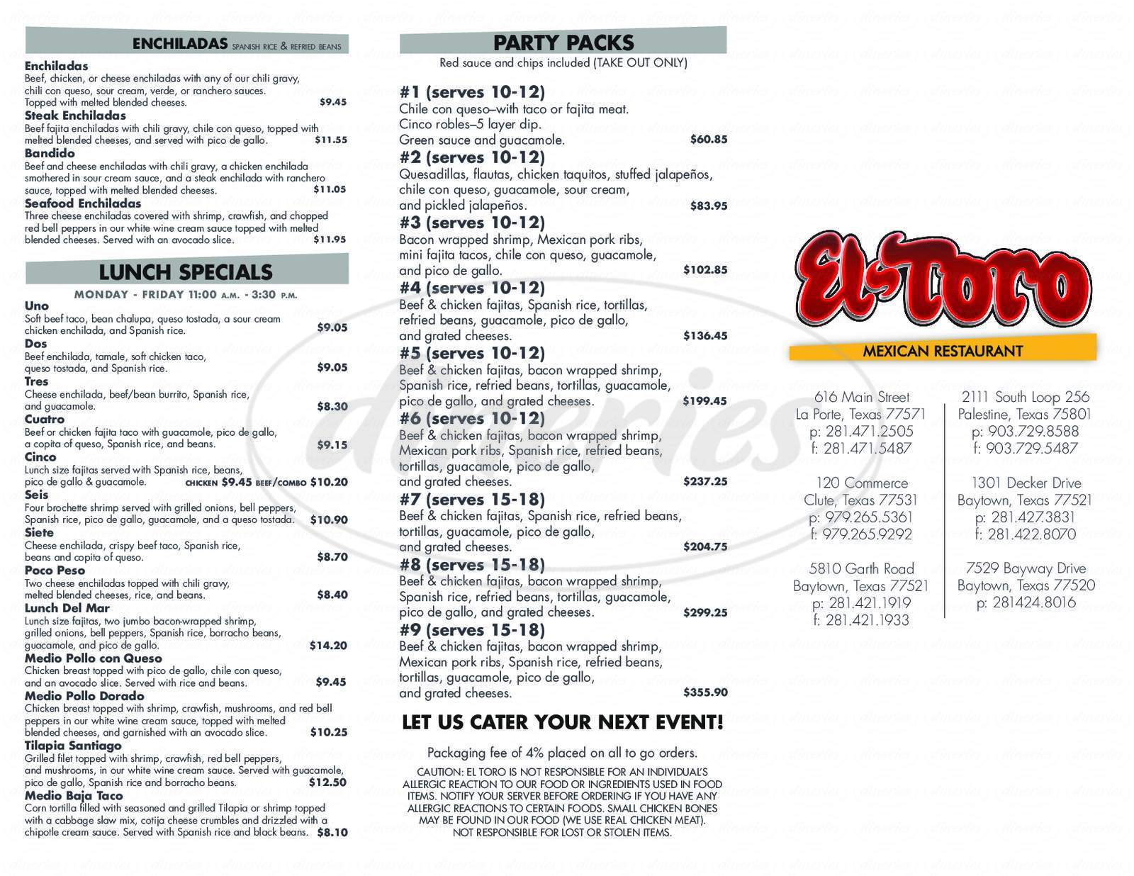 menu for El Toro Mexican Restaurant