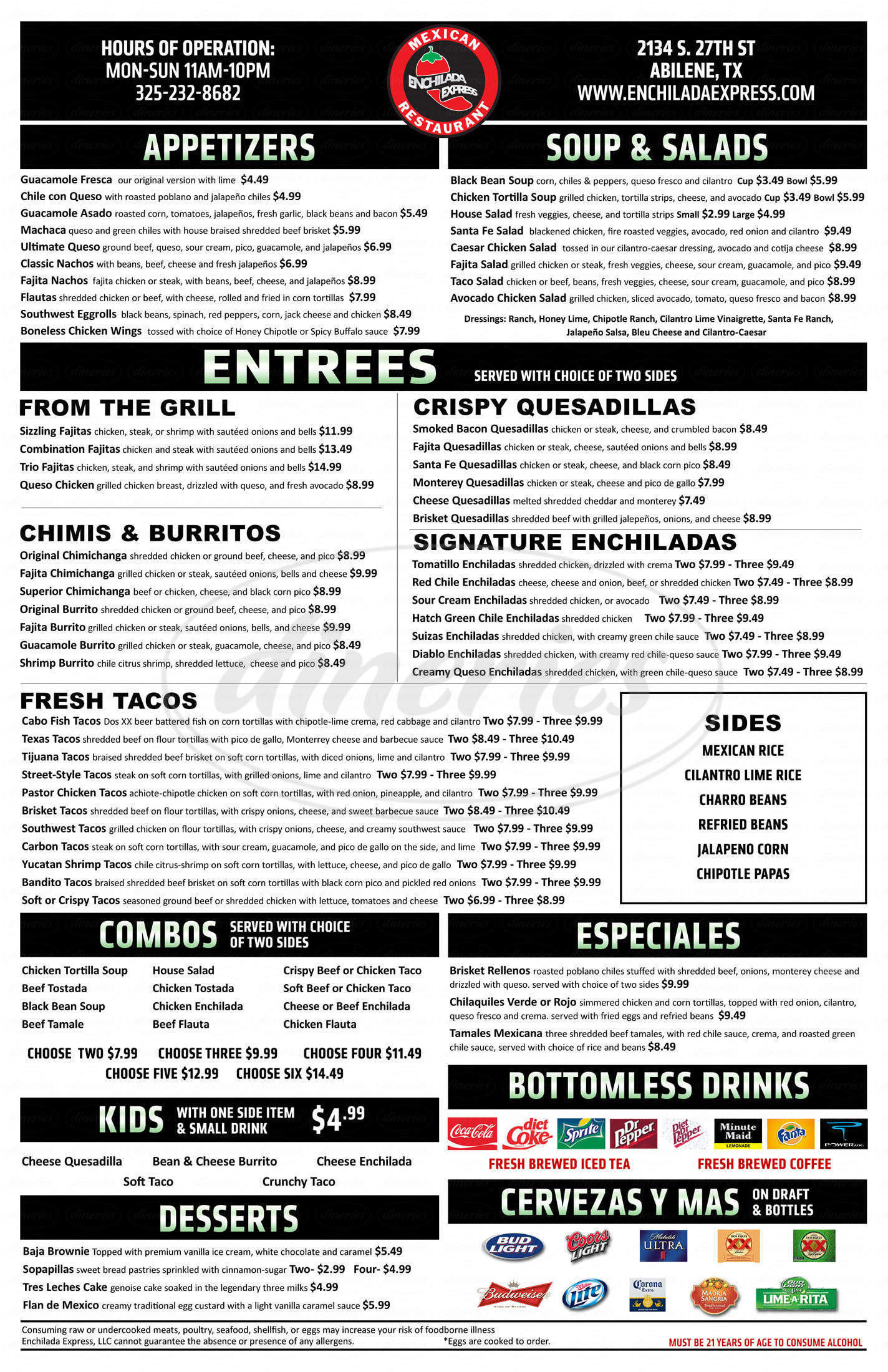 menu for Enchilada Express