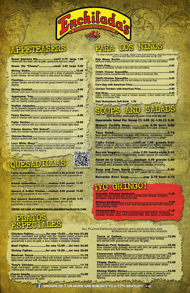menu for Enchilada's Restaurant