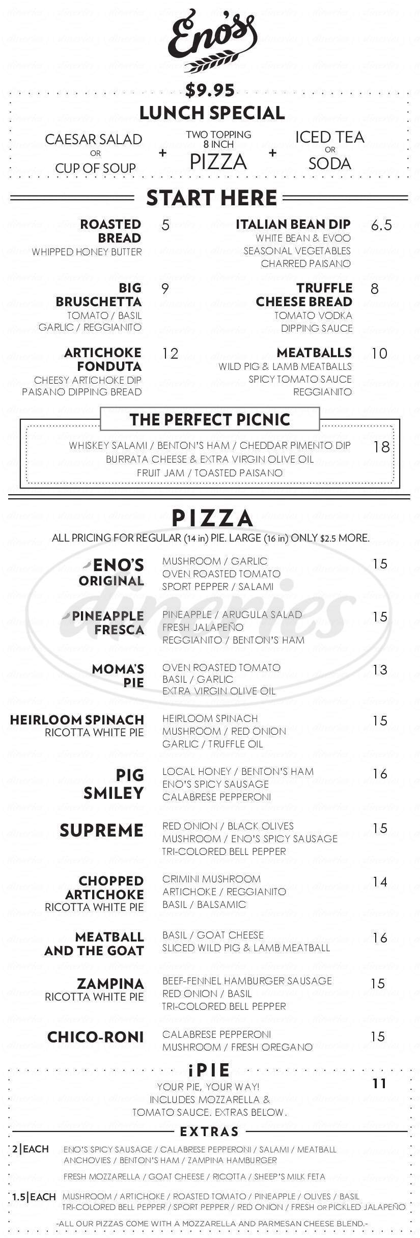menu for Eno's Pizza Tavern
