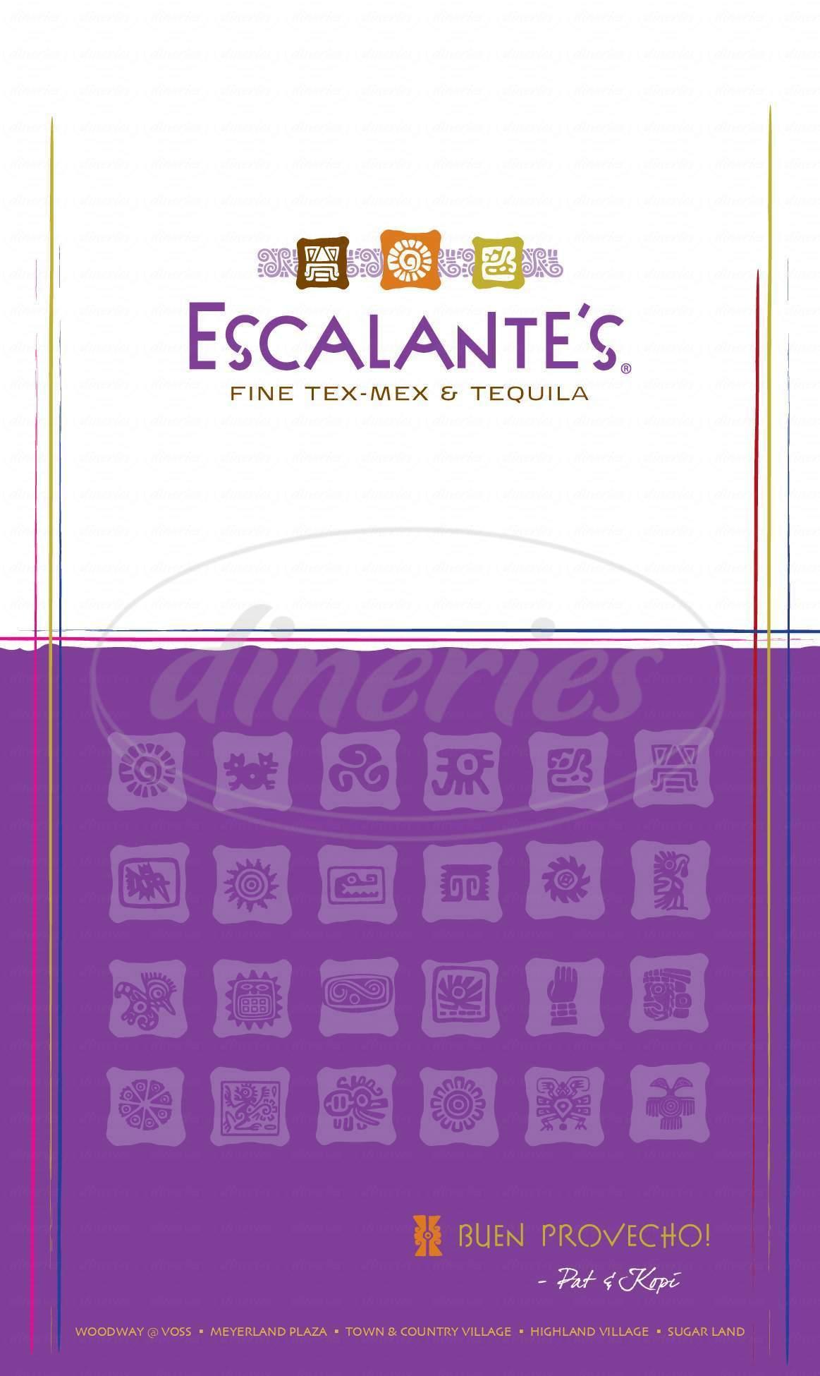 menu for Escalante's Mexican Grille