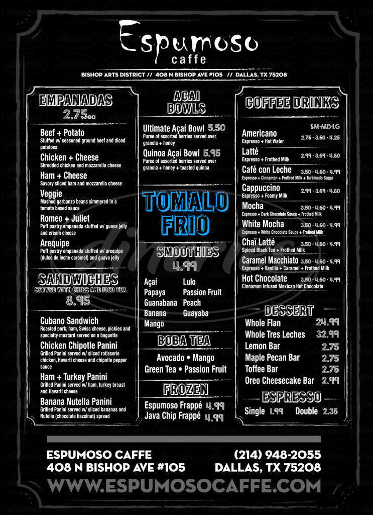 menu for Espumoso Caffe