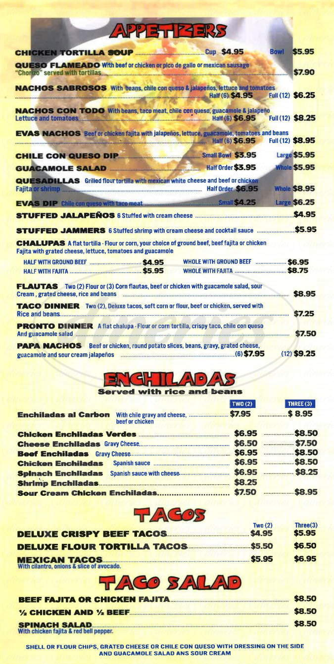 menu for Eva's Mexican Restaurant
