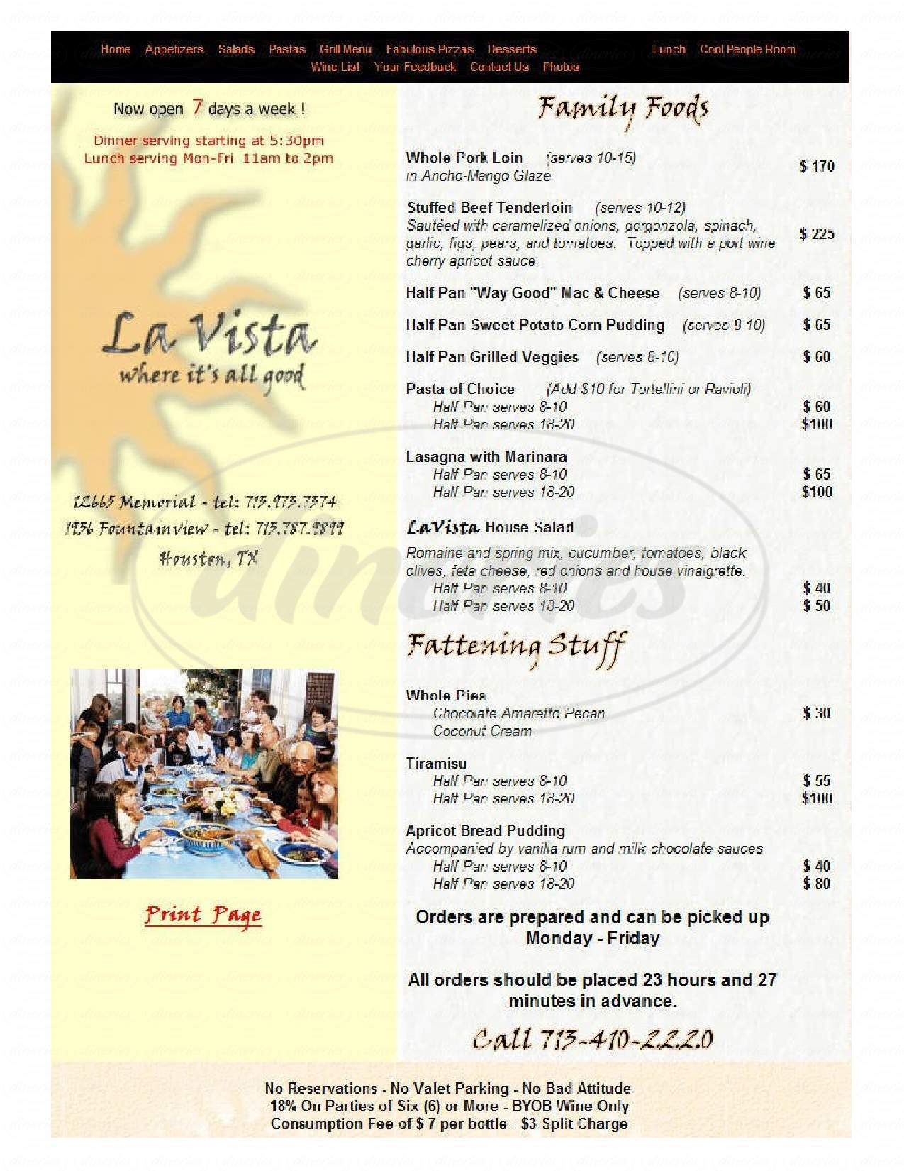menu for La Vista