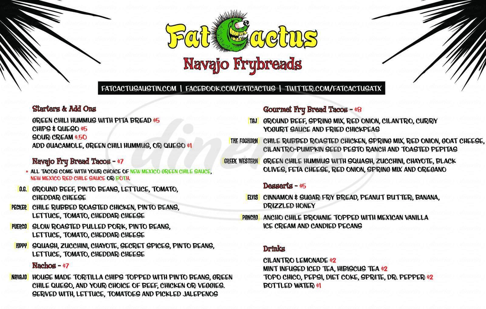 menu for Fat Cactus