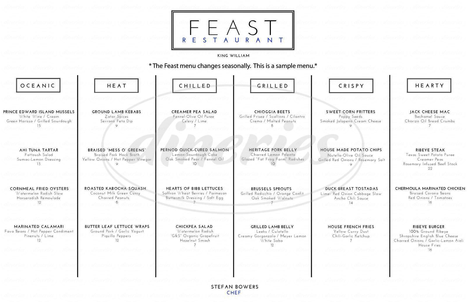 menu for Feast