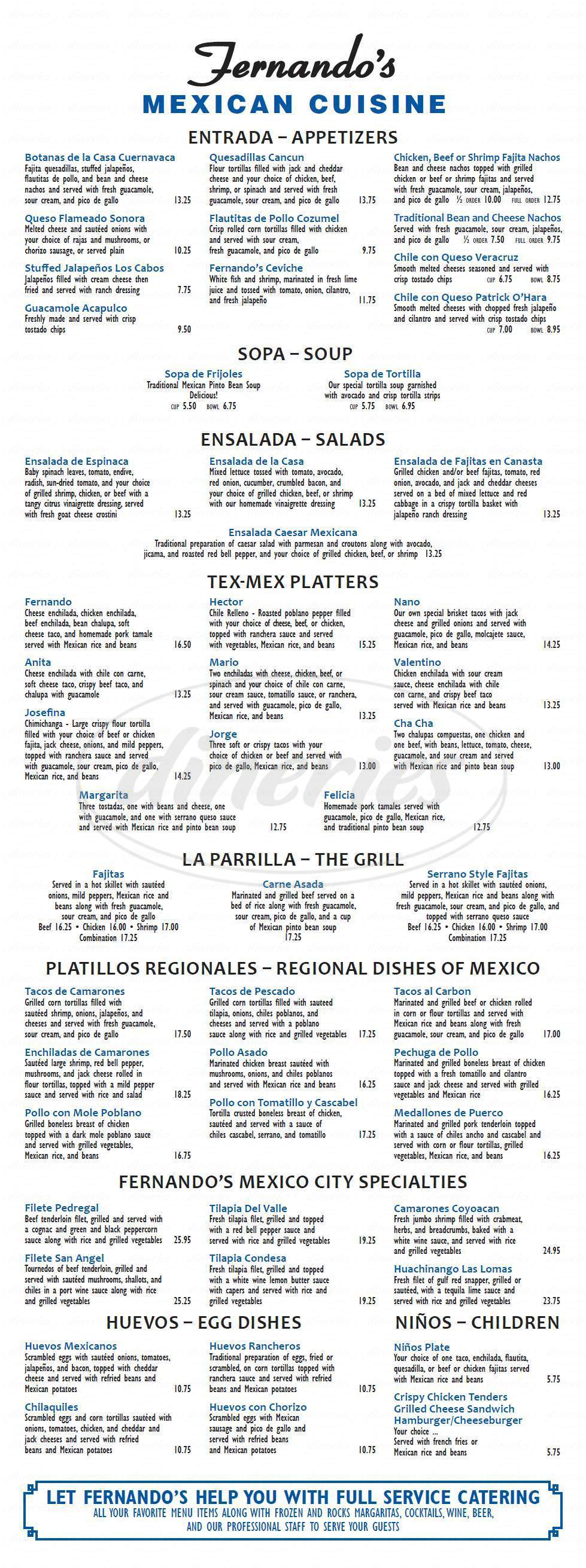 menu for Fernando's Mexican Cuisine