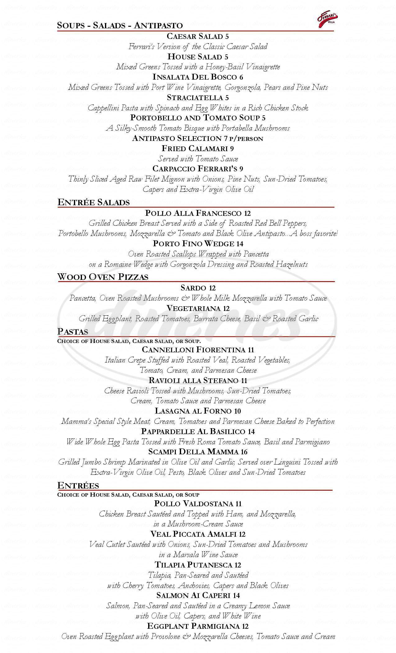 menu for Ferrari's Italian Villa