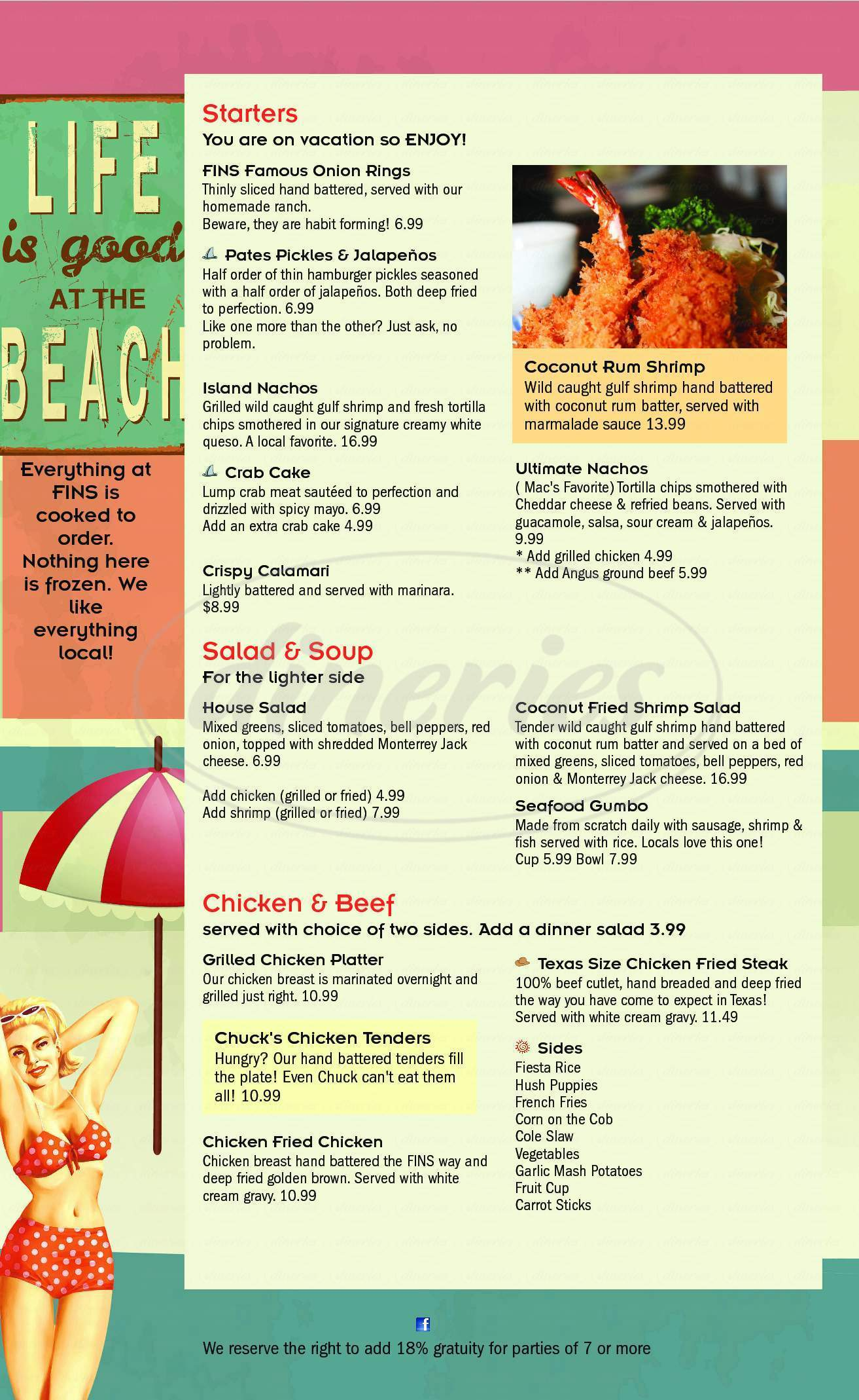 menu for Fins Grill & Icehouse