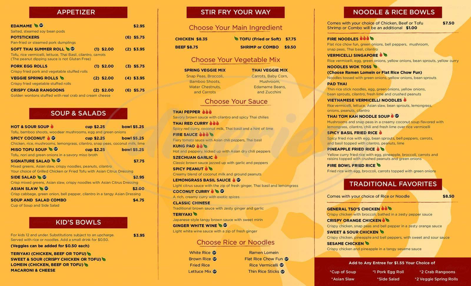 menu for Fire Bowl Cafe
