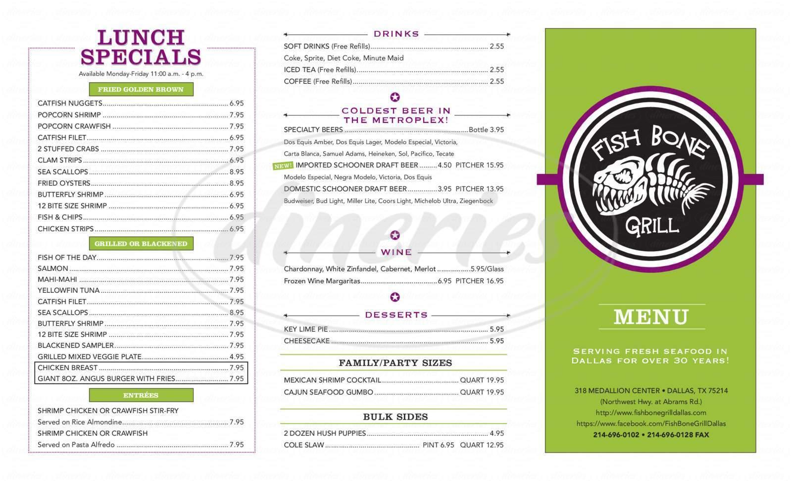 menu for Fish Bone Grill