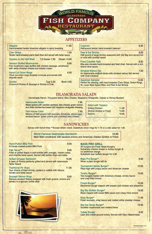menu for Islamorada Fish Company