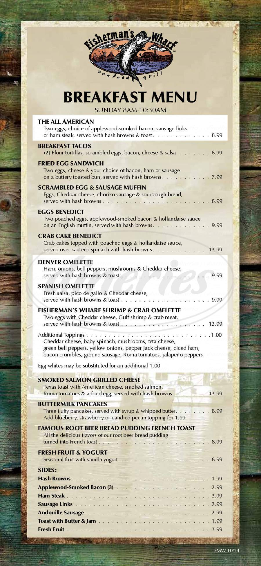 menu for Fisherman's Wharf