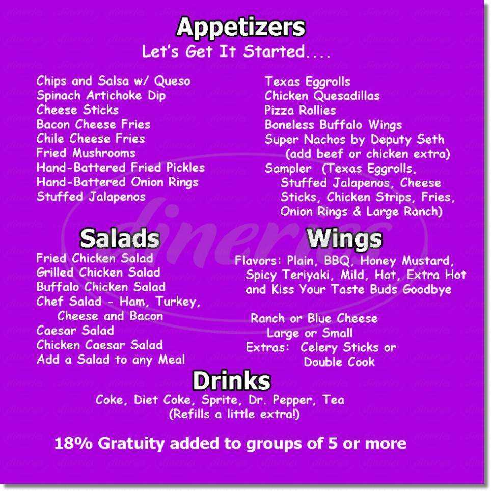 menu for Flashback Cafe