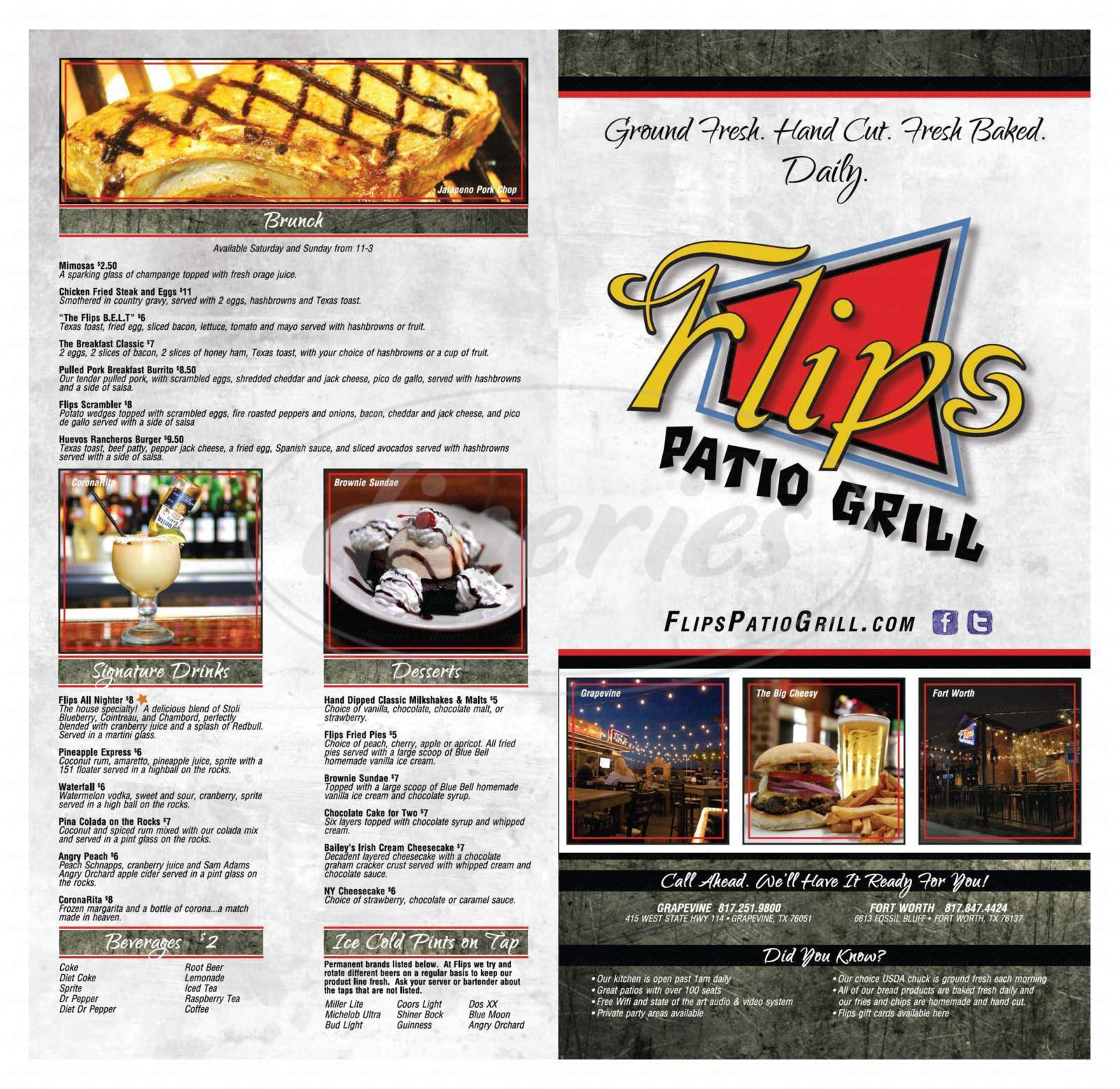 menu for Flip's Patio Grill