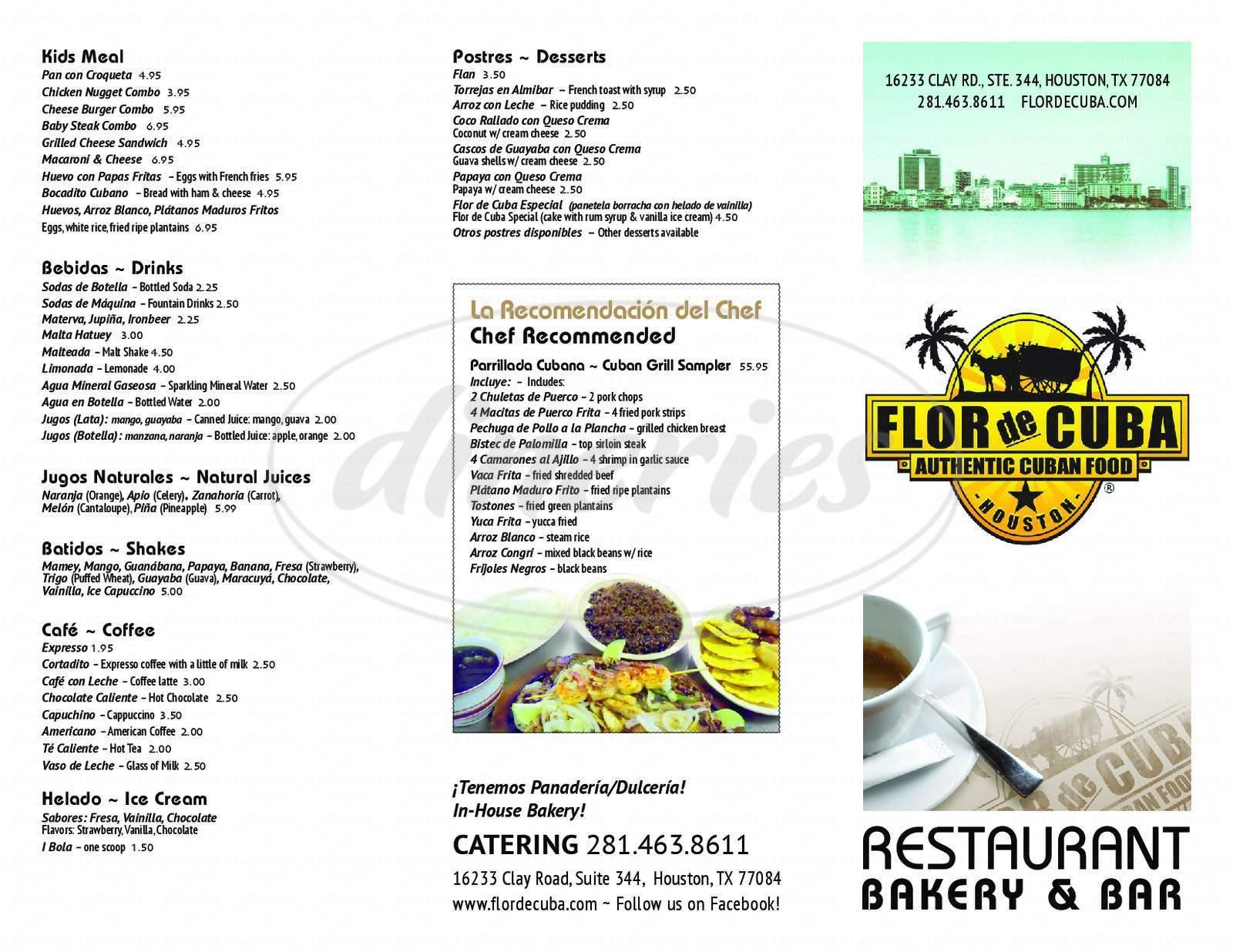 menu for Flor de Cuba