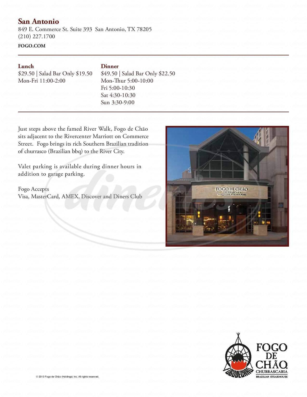 menu for Fogo de Chao San Antonio