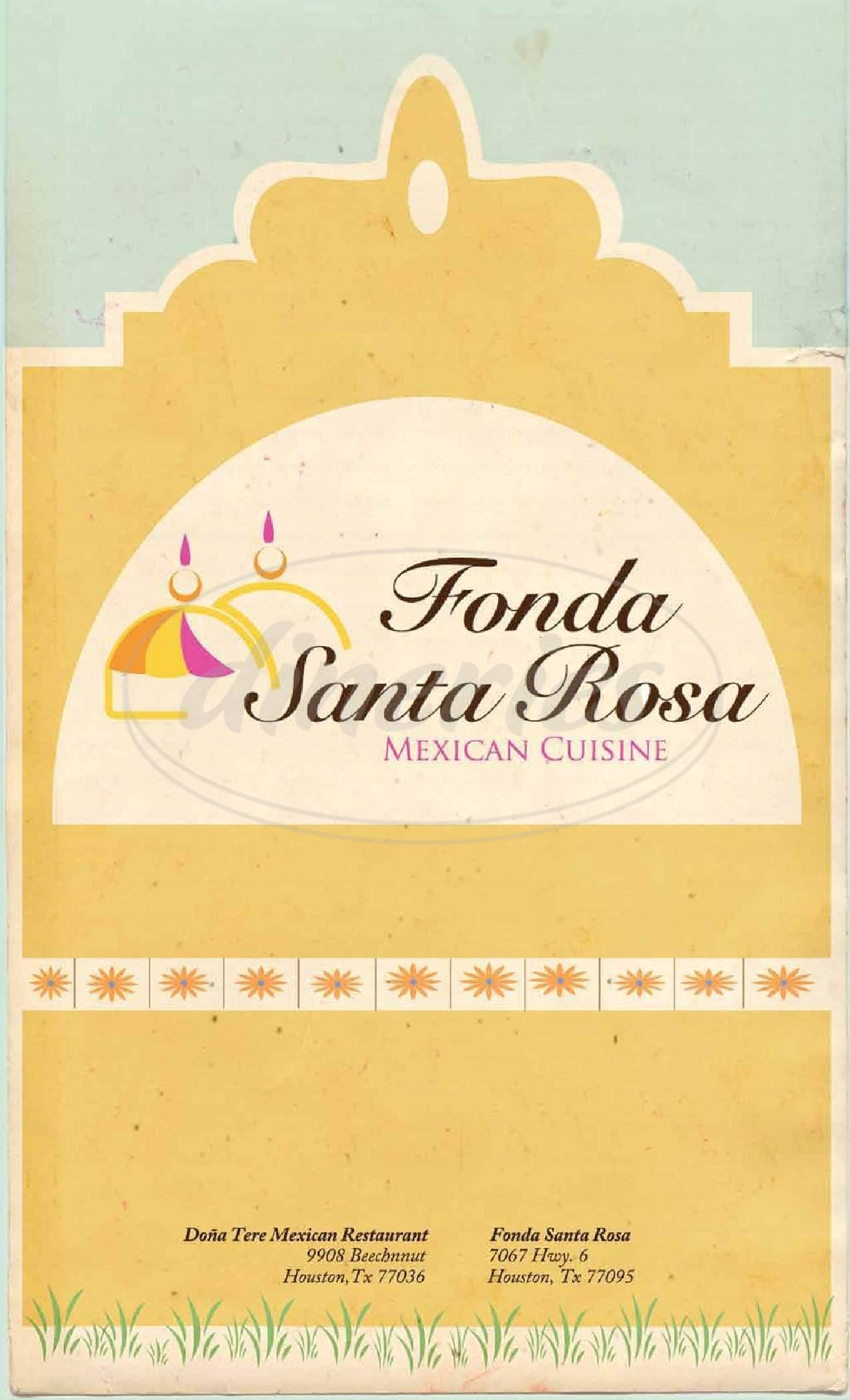 menu for Fonda Santa Rosa