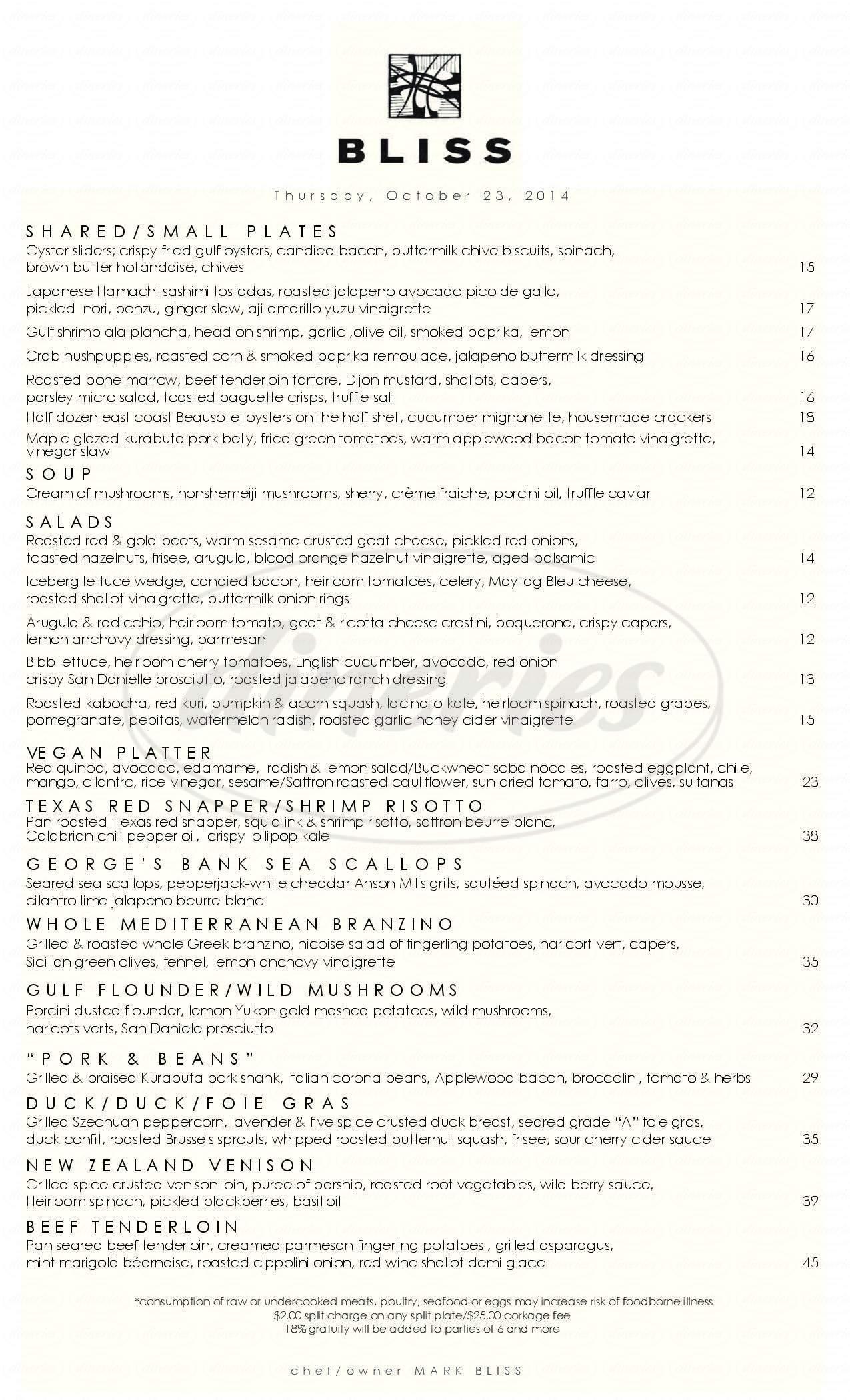 menu for Bliss