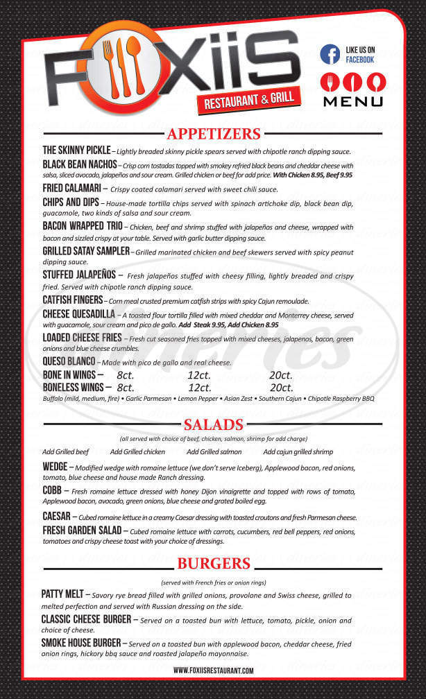 menu for Foxiis Sports Grill Sports Bar