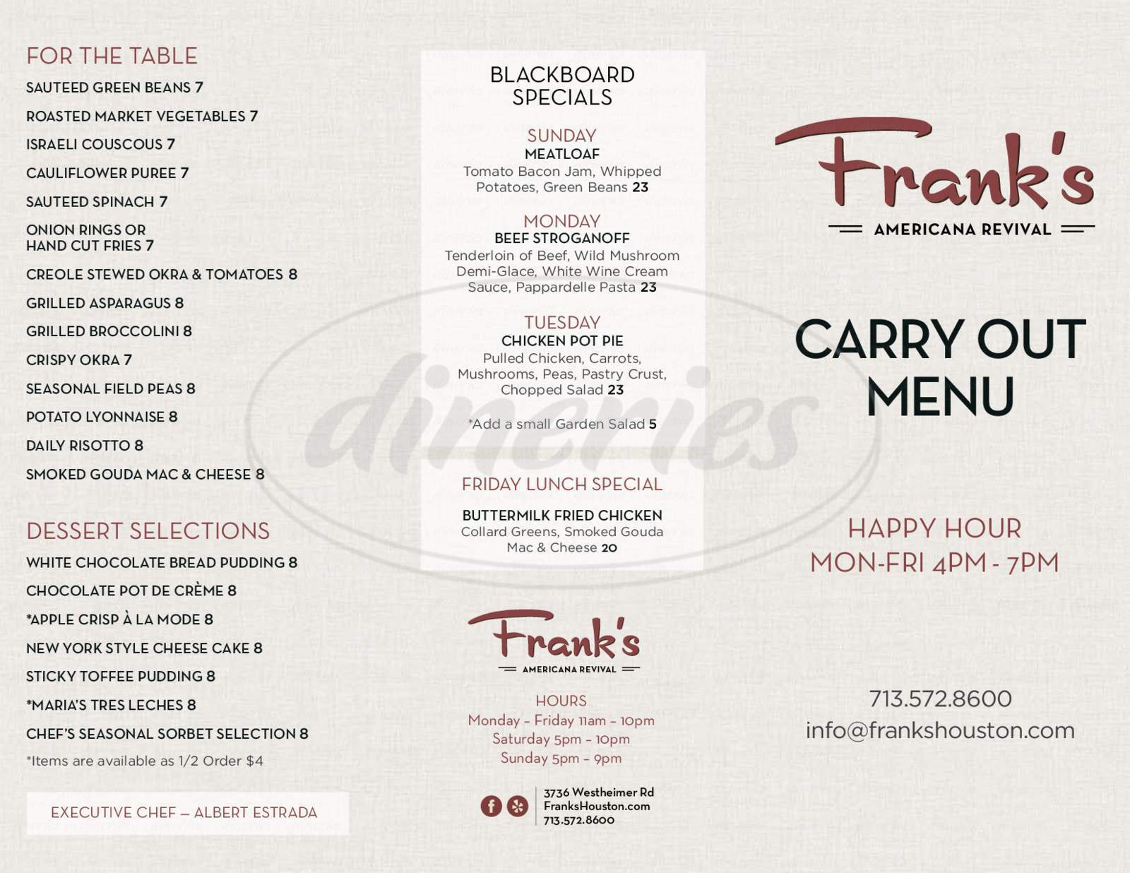menu for Frank's Americana Revival
